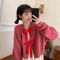 Women's large Winter 2020, autumn 2020 White cardigan, blue cardigan, red cardigan, black dress, apricot dress Big XL, big XXL, big XXXL, big XXXXL, big L, m, s Dress Two piece set thick routine Polyester, cotton 18-24 years old Medium length