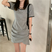 Dress Summer 2021 grey Average size Miniskirt singleton  Short sleeve Crew neck Elastic waist other One pace skirt routine Others 18-24 years old Other / other 31% (inclusive) - 50% (inclusive) other cotton