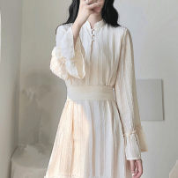 Dress Autumn 2020 Apricot S,M,L,XL Mid length dress singleton  Long sleeves commute stand collar High waist Solid color Socket A-line skirt pagoda sleeve Others 18-24 years old Type A Korean version Bow, ruffle, lace 71% (inclusive) - 80% (inclusive) other Cellulose acetate