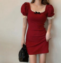 Dress Summer 2021 Bow lace dress red, BOW LACE DRESS BLACK S,M,L,XL,2XL Mid length dress singleton  Long sleeves commute V-neck High waist Solid color Socket A-line skirt puff sleeve Others 25-29 years old Type A printing 31% (inclusive) - 50% (inclusive) other polyester fiber