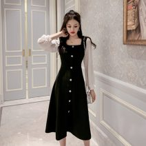 Dress Autumn 2020 black S,M,L,XL,2XL Mid length dress singleton  Long sleeves commute square neck middle-waisted Solid color Single breasted A-line skirt other Others 18-24 years old Type A Korean version Button 81% (inclusive) - 90% (inclusive) other polyester fiber