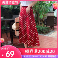 skirt Spring 2021 S M L XL 2XL White, red, black longuette commute High waist A-line skirt Dot Type H 25-29 years old Z041 More than 95% Nomondph / normanfin polyester fiber printing Korean version Polyester 100% Pure e-commerce (online only)