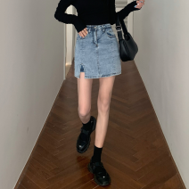 skirt Summer 2020 S,M,L Blue, black Short skirt commute High waist A-line skirt Solid color Type A 18-24 years old rrbDu 51% (inclusive) - 70% (inclusive) Denim Ezrin Korean version