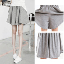 Casual pants Black, gray Summer 2020 shorts Wide leg pants High waist Thin money 81% (inclusive) - 90% (inclusive) July deer other cotton