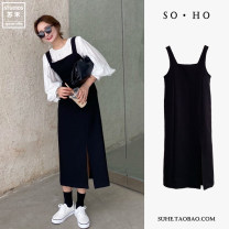 Dress Spring 2021 black S,M,L,XL Mid length dress singleton  Sleeveless commute square neck High waist Solid color zipper One pace skirt camisole 18-24 years old Type A Other / other Korean version More than 95% polyester fiber