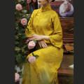 cheongsam Spring 2021 S,M,L,XL golden three quarter sleeve long cheongsam Low slit daily Ruyi lapel Decor silk 30% and below