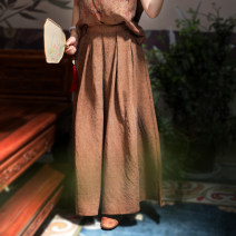 skirt Spring 2021 S,M,L,XL Black, brown Mid length dress Versatile Natural waist A-line skirt Solid color Type A More than 95% Silk and satin silk