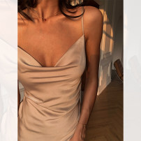 Dress Spring 2021 Earth color, Zhaoxia orange, earth color pre-sale, Zhaoxia orange pre-sale XS,S,M,L Mid length dress singleton  Sleeveless street Dangling collar Solid color camisole Other / other Q0241 Europe and America