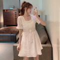 Dress Summer 2021 white Average size Middle-skirt Short sleeve commute square neck A-line skirt 25-29 years old Type A Korean version