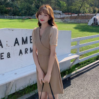 Dress Summer 2021 Khaki, black, pink S,M,L Middle-skirt singleton  Short sleeve commute V-neck middle-waisted Solid color Socket A-line skirt routine 25-29 years old Type A Korean version 51% (inclusive) - 70% (inclusive) other acrylic fibres