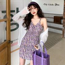Dress Summer 2021 Suspender skirt, white cardigan Average size Short skirt singleton  V-neck Decor Socket Type A 71% (inclusive) - 80% (inclusive) cotton