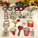 Cloth stickers TAKE ME AWAY beverages popcorn, love lollipop, ice cream perfume bottle, French fries (New) SHAKE drinks, red lipped cocktail bottle, green cocktail, white glasses, small clothes, pink paste, green holiday glasses, rose red holiday glasses, like picture group 15, more favorable.