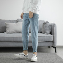 Jeans Youth fashion Others 27 (2.08 feet), 28 (2.16 feet), 29 (2.23 feet), 30 (2.31 feet), 31 (2.39 feet), 32 (2.46 feet), 33 (2.54 feet), 34 (2.62 feet), 26 blue routine Micro bomb Regular denim Ninth pants Other leisure autumn teenagers middle-waisted Slim feet Exquisite Korean style 2020 zipper
