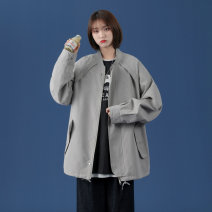 Jacket Other / other Youth fashion Black, grey, brown M. L, s, XL, 2XL, 3XL, 4XL, 5XL, XS plus small routine easy Other leisure spring Polyester 100% Long sleeves Wear out tide teenagers routine Zipper placket 2021 No iron treatment Solid color polyester fiber
