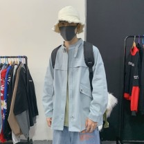 Jacket Other / other Youth fashion Black, khaki, blue M. L, s, XL, 2XL, 3XL, 4XL, 5XL, XS plus small routine easy Other leisure spring Long sleeves Wear out Lapel Basic public youth routine Single breasted 2021 Straight hem washing Closing sleeve Solid color other Mingji thread patch bag