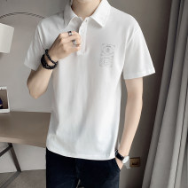 Polo shirt Other / other Youth fashion routine Black, white S. M, l, XL, 2XL, 3XL, XS plus small standard Other leisure summer Short sleeve tide routine youth Cotton 100% 2021 other other printing