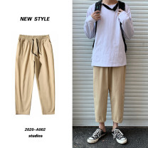 Casual pants Others Fashion City Black, Khaki S. M, l, XL, 2XL, 3XL, 4XL, 5XL, XS plus small routine Ninth pants Other leisure easy No bullet Four seasons Large size tide 2021 middle-waisted Straight cylinder Haren pants Domestic non famous brands