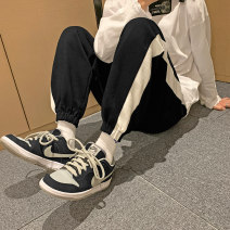 Casual pants Others Youth fashion White, black, greyish green S. M, l, XL, 2XL, XS plus small routine trousers Other leisure easy Micro bomb Four seasons teenagers Exquisite Korean style 2021 Little feet Sports pants Color contrast Solid color Terry cloth