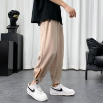 Casual pants Others Youth fashion Black, apricot, blue, grass green S. M, l, XL, 2XL, 3XL, XS plus small thin Ninth pants Other leisure easy summer teenagers Polyester 96% polyurethane elastic fiber (spandex) 4% make a slit or vent