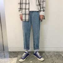 Jeans Youth fashion Others S,M,L,XL,2XL,XS Light blue, dark blue, black routine Micro bomb Regular denim trousers Travel? autumn youth middle-waisted Fitting straight tube Youthful vigor 2020 Straight foot zipper washing washing cotton