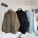 Jacket Other / other Youth fashion Black, army green, blue M. L, s, XL, 2XL, 3XL, 4XL, 5XL, XS plus small routine easy Other leisure autumn Long sleeves Wear out Lapel Basic public teenagers routine Zipper placket 2021 Straight hem Closing sleeve Solid color other Side seam pocket cotton