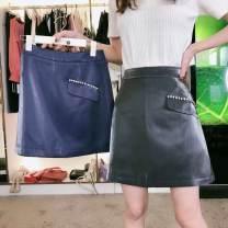 skirt Winter 2021 S,M,L Blue, black Short skirt commute High waist A-line skirt Solid color Type A 25-29 years old Wool polyester fiber zipper