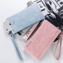 wallet Long Wallet PU baellerry Grayish blue earthy yellow light blue black light brown pink off white brand new Japan and South Korea female zipper Solid color 80% off Horizontal style youth Other large banknote clip with concealed change, passbook, zipper, ID card Sewing polyester fiber ZJ2018C1288