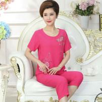 Women's large Summer 2020 Blue, green, camel, pink, rose Large XL, 2XL, 3XL, 4XL Dress Socket Short sleeve V-neck Interesting fruit Middle-skirt