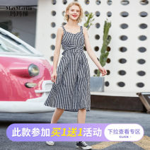 Dress Summer 2020 Black and white pre-sale black and white S M L XL longuette singleton  Sleeveless Sweet High waist stripe Big swing camisole 25-29 years old Max Martin / Mary M201468D02 More than 95% cotton Cotton 100% Countryside Pure e-commerce (online only)