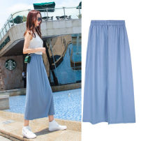 skirt Summer of 2019 S M L XL Haze blue longuette Versatile High waist Solid color Type H 18-24 years old RKQ1962 Rakenflair / Ranke Pure e-commerce (online only)