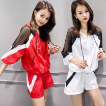 Casual suit Summer of 2019 As shown in the picture white suit as shown in the picture red suit as shown in the picture black suit S M L XL XXL 18-25 years old DR19B046 Deernoton Other 100% Pure e-commerce (online only)