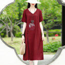 Dress Summer 2021 Red and black S M L XL XXL Mid length dress singleton  Short sleeve commute Crew neck Loose waist Solid color Socket A-line skirt routine 30-34 years old Type H Xizi meet Retro Embroidered pocket with lace up for three dimensional decoration X2104XS506 cotton Cotton 70% flax 30%