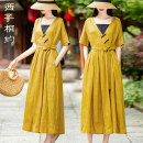 Dress Summer 2021 yellow M L XL XXL Mid length dress Two piece set Short sleeve commute V-neck middle-waisted Solid color Socket A-line skirt routine 30-34 years old Type X Xizi meet Retro Three dimensional decorative button with lace up pocket X2104XS515 71% (inclusive) - 80% (inclusive) hemp