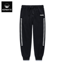 Casual pants KERWATS Youth fashion black S M L XL 2XL 3XL 4XL 5XL 6XL routine trousers Other leisure easy Micro bomb KWS6K002-053 Four seasons Large size like a breath of fresh air 2018 middle-waisted Little feet Cotton 95% polyurethane elastic fiber (spandex) 5% Tapered pants Rib stitching stripe