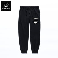 Casual pants KERWATS Youth fashion black S M L XL 3XL 4XL 5XL 6XL XXL routine trousers Other leisure easy Micro bomb kws64k02-28 Four seasons youth tide 2017 middle-waisted Little feet Cotton 95% polyurethane elastic fiber (spandex) 5% Haren pants Rib stitching Alphanumeric plain cloth cotton