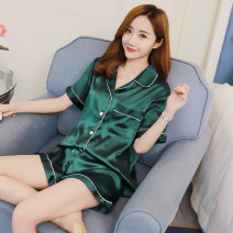 Pajamas / housewear set female Other / other Polyester (polyester) Short sleeve Sweet pajamas summer Thin money Small lapel Solid color shorts Front buckle youth 2 pieces rubber string More than 95% printing 200g and below