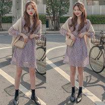 Dress Summer 2021 S,M,L,XL Short skirt singleton  Long sleeves Sweet V-neck High waist Socket A-line skirt 18-24 years old Type A Other / other Chiffon