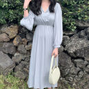Dress Spring 2021 Gray blue Average size Mid length dress singleton  Long sleeves commute V-neck Solid color Socket Others 18-24 years old Korean version 71% (inclusive) - 80% (inclusive)