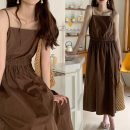 Dress Spring 2021 brown Average size Mid length dress singleton  Sleeveless commute square neck Solid color Socket camisole 18-24 years old Korean version 71% (inclusive) - 80% (inclusive)