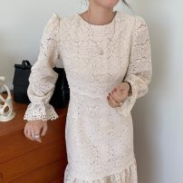 Dress Autumn 2020 Apricot Average size Mid length dress singleton  Long sleeves commute Crew neck Solid color Socket Others 18-24 years old Korean version 71% (inclusive) - 80% (inclusive)