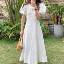 Dress Summer 2021 White, black Average size Mid length dress singleton  Short sleeve commute V-neck High waist Solid color Socket Big swing puff sleeve Others 18-24 years old Korean version 71% (inclusive) - 80% (inclusive) other other