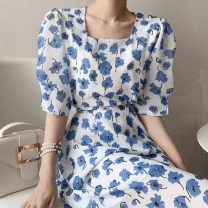 Dress Summer 2021 Mid length dress singleton  elbow sleeve commute square neck Decor Condom Others 18-24 years old Korean version 71% (inclusive) - 80% (inclusive) One size fits all