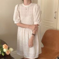 Dress Summer 2021 White, black, brown Average size Short skirt singleton  Short sleeve commute Crew neck Solid color Socket Others 18-24 years old Korean version 71% (inclusive) - 80% (inclusive)
