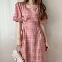 Dress Summer 2021 Red, green, blue, yellow Average size Mid length dress singleton  Short sleeve commute square neck lattice Socket Others 18-24 years old Korean version 71% (inclusive) - 80% (inclusive)