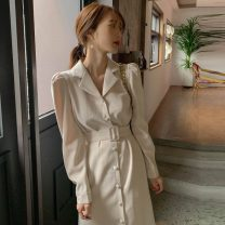 Dress Spring 2021 Black, picture S,M,L,XL Middle-skirt singleton  Long sleeves commute tailored collar Solid color Single breasted Others 18-24 years old Korean version 81% (inclusive) - 90% (inclusive)
