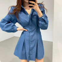 Dress Spring 2021 navy blue S,M,L Short skirt singleton  Long sleeves commute Polo collar Solid color Single breasted Others 18-24 years old Korean version 71% (inclusive) - 80% (inclusive)