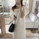 Dress Summer 2021 Mid length dress singleton  Short sleeve commute square neck Solid color Condom Others 18-24 years old Korean version 81% (inclusive) - 90% (inclusive) cotton One size fits all