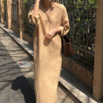Dress Autumn of 2019 Average size longuette singleton  three quarter sleeve commute V-neck Solid color Socket 18-24 years old Other / other Korean version 71% (inclusive) - 80% (inclusive)