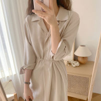 Dress Spring 2021 Apricot, light blue, black S,M,L,XL Short skirt singleton  three quarter sleeve commute tailored collar Solid color Socket Others 18-24 years old Other / other Korean version 71% (inclusive) - 80% (inclusive)