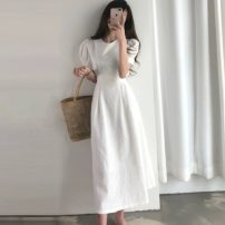 Dress Summer 2020 White, red S,M,L,XL Mid length dress singleton  Short sleeve commute Crew neck Solid color Socket Others 18-24 years old Other / other Korean version 71% (inclusive) - 80% (inclusive)